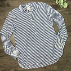 JCREW | sz XXS blue washed linen blend popover